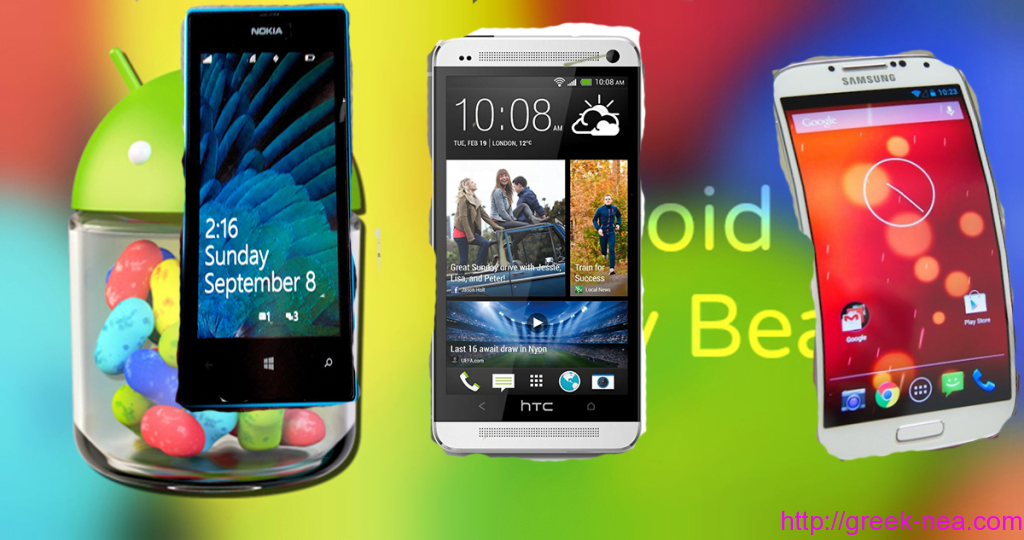 Android Jelly Bean 4.3, HTC One, Samsung Galaxy, Nokia Lumia 520