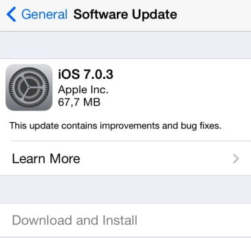 "Apple has released iOS 7.0.3, which adds iCloud Keychain and a Password Generator for Safari. The update features a number of bug fixes and tweaks, including an iMessage fix, the resolving of an accelerometer calibration issue, and a lock screen update that delays the display of ""slide to unlock"" when using Touch ID. The update is available over the air through the Software Update screen in the iOS Settings app or via the iTunes software update process."